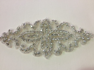 RHS-APL-076-SILVER.  CRYSTAL RHINESTONE APPLIQUE.  6 X 2.75 INCHES