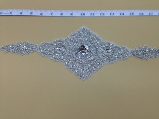 RHS-APL-078-SILVER.  CRYSTAL RHINESTONE APPLIQUE.  X INCHES