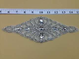 RHS-APL-079-SILVER.  CRYSTAL RHINESTONE APPLIQUE.  X INCHES