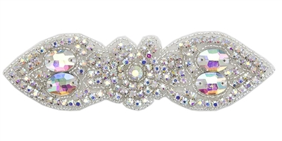 "RHS-APL-1548-AB.  CRYSTAL RHINESTONE APPLIQUE WITH SILVER BEADS - 11.5"" X 4.5"""