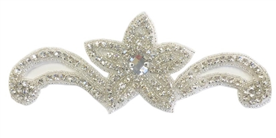"RHS-APL-1549-SILVER.  CRYSTAL RHINESTONE APPLIQUE WITH SILVER BEADS - 7"" X 2.5"""