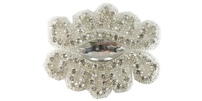 "RHS-APL-1564-SILVER.  CRYSTAL RHINESTONE APPLIQUE WITH SILVER BEADS - 3"" X 2.5"""