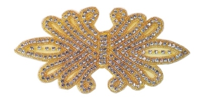 "RHS-APL-158-GOLD.  CRYSTAL RHINESTONE APPLIQUE WITH GOLD BEADS - 8"" X 4"""
