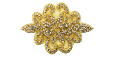 "RHS-APL-180-GOLD.  CRYSTAL RHINESTONE APPLIQUE -,6.75"" X 5 """