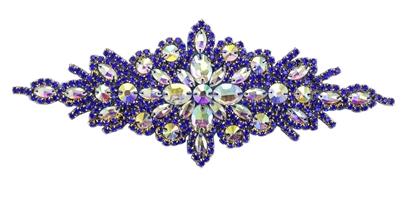RHS-APL-422-ROYALBLUE.  Hot Fix / Sew-On AB-Crystal Rhinestone Applique - AB Stone with Royal Blue Beads - 9 inch X 3 inch