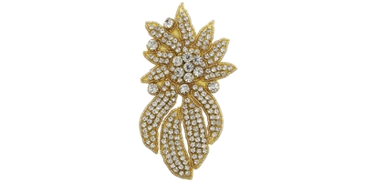 RHS-APL-468S-GOLD.  Crystal Rhinestone Applique - Small