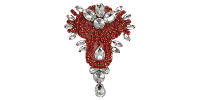 "RHS-APL-475-RED.  RED Crystal Rhinestone Applique - 3"" x 5"""