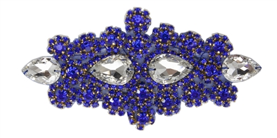 RHS-APL-478-ROYALBLUE.  MAX BLING Hot Fix / Sew-On Crystal Rhinestone Applique - Clear and Royal Blue Stones - 7 X 3 inches