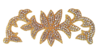 "RHS-APL-492-GOLD.  CRYSTAL RHINESTONE APPLIQUE.  8"" x 3"""