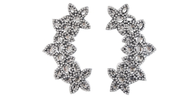"RHS-APL-511-PAIR-BLACK.  CRYSTAL RHINESTONE APPLIQUE PAIR.  6.5"" x 2.5"""