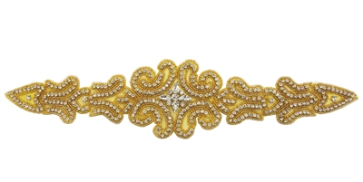 "RHS-APL-550-GOLD.  CRYSTAL RHINESTONE APPLIQUE - 15"" X 3.5"""