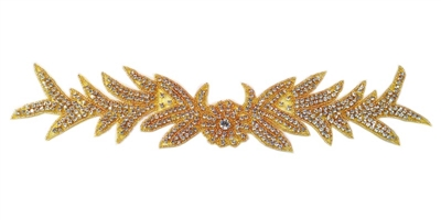 "RHS-APL-733-GOLD.  CRYSTAL RHINESTONE APPLIQUE - 15"" X 3"""