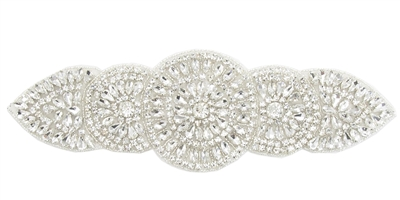 RHS-APL-834-SILVER.  CRYSTAL RHINESTONE APPLIQUE - 10 X 3 INCHES