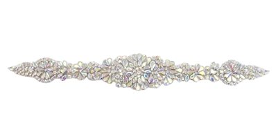 RHS-APL-857-AB.  AB CRYSTAL RHINESTONE APPLIQUE - 14 X 2 INCHES