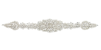 RHS-APL-857-SILVER. CRYSTAL RHINESTONE APPLIQUE - 14 X 2 INCHES