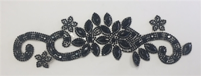 RHS-APL-P085-BLACKBLACK.  BLACK ACRYLIC RHINESTONE APPLIQUE - 9 INCHES