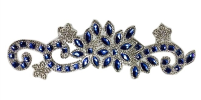 RHS-APL-085-BLUE.  CLEAR AND BLUE ACRYLIC RHINESTONE APPLIQUE - 9 INCHES