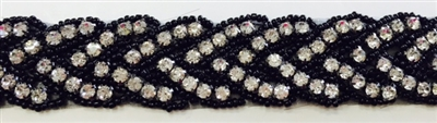 RHS-TRM-1150-BLACK.  CRYSTAL RHINESTONE TRIM WITH BLACK BEADS- SILVER - 1 INCH WIDE