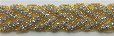 RHS-TRM-1150-GOLD.  HOT-FIX CLEAR CRYSTAL RHINESTONE TRIM - WITH GOLD BEADS - 1 INCH WIDE