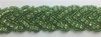 RHS-TRM-1150-GREEN.  HOT-FIX GREEN CRYSTAL RHINESTONE TRIM - WITH GREEN BEADS - 1 INCH WIDE