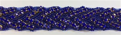 RHS-TRM-1150-ROYALBLUE.  ROYALBLUE CRYSTAL RHINESTONE TRIM - ROYALBLUE BEADS - 1 INCH WIDE