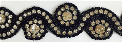 RHS-TRM-1152-BLACK.  HOT-FIX CLEAR CRYSTAL RHINESTONE TRIM WITH BLACK BEADS - 1.5 INCH WIDE