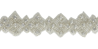 RHS-TRM-1266-SILVER.  CRYSTAL RHINESTONE TRIM - 1.25 INCHES WIDE