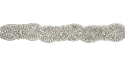 RHS-TRM-1270-SILVER.  CRYSTAL RHINESTONE TRIM - 1.5 INCHES WIDE