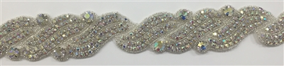RHS-TRM-1272-AB.  AB CRYSTAL RHINESTONE TRIM - 2 INCHES WIDE