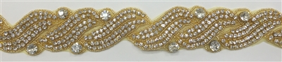 RHS-TRM-1272-GOLD.  CRYSTAL RHINESTONE TRIM - 2 INCHES WIDE