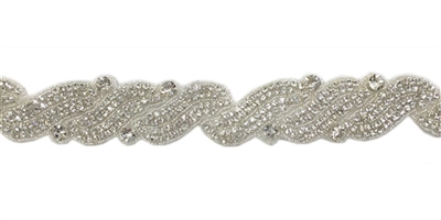 RHS-TRM-1272-SILVER.  CRYSTAL RHINESTONE TRIM - 2 INCHES WIDE