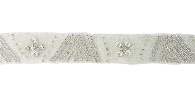 RHS-TRM-1291-SILVER.  CRYSTAL RHINESTONE TRIM - 2 INCHES WIDE - REPEAT LENGTH 6 INCHES