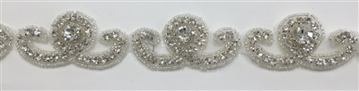 CRYSTAL RHINESTONE TRIM - 1.5 INCHES WIDE - REPEAT LENGTH 2.5 INCHES