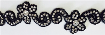 RHS-TRM-1298-BLACK.  CRYSTAL RHINESTONE TRIM WITH BLACK BEADS- 1.75 INCHES WIDE - REPEAT LENGTH 6 INCHES