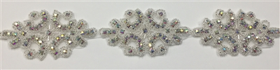 RHS-TRM-1312-AB.  AB CRYSTAL RHINESTONE TRIM - 2 INCHES WIDE - REPEAT LENGTH 3 INCHES