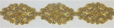 RHS-TRM-1312-GOLD-RHINESTONE TRIM.  2 Inches