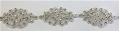 RHS-TRM-1312-SILVER.  CRYSTAL RHINESTONE TRIM - 2 INCHES WIDE - REPEAT LENGTH 3 INCHES