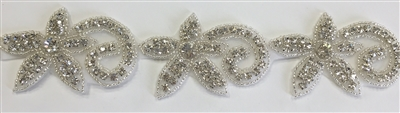 RHS-TRM-1317-SILVER.  CRYSTAL RHINESTONE TRIM - 2 INCH WIDE - REPEAT LENGTH 3 INCHES