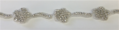 RHS-TRM-1319-SILVER.  CRYSTAL RHINESTONE TRIM - 1.25 INCH WIDE - REPEAT LENGTH 3 INCHES
