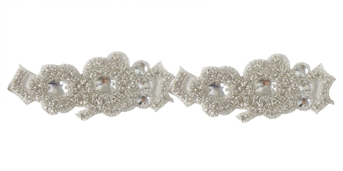 RHS-TRM-1323-SILVER.  CRYSTAL RHINESTONE TRIM - 2 INCH WIDE - REPEAT LENGTH 5 INCHES
