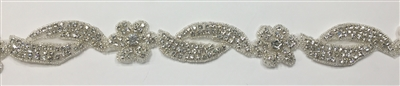 RHS-TRM-1330-SILVER.  CRYSTAL RHINESTONE TRIM - 1.5 INCH WIDE - REPEAT LENGTH 6.5 INCHES