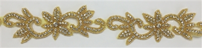 RHS-TRM-1332-GOLD.  CRYSTAL RHINESTONE TRIM WITH GOLD BEADS - 2 INCH WIDE - REPEAT LENGTH 6.5 INCHES