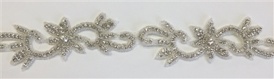 RHS-TRM-1332-SILVER.  CRYSTAL RHINESTONE TRIM - 2 INCH WIDE - REPEAT LENGTH 6.5 INCHES