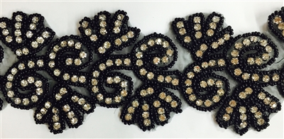 RHS-TRM-1341-BLACK.  HOT-FIX CLEAR CRYSTAL RHINESTONE TRIM WITH BLACK BEADS - 3 INCHES WIDE