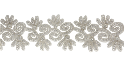 RHS-TRM-1341-SILVER.  CRYSTAL RHINESTONE TRIM - 3 INCHES WIDE