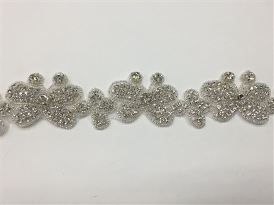 RHS-TRM-1347-SILVER.  CRYSTAL RHINESTONE TRIM - 2.5 INCHES WIDE