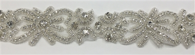 RHS-TRM-1362-SILVER.  CRYSTAL RHINESTONE TRIM - 2 INCHES WIDE - REPEAT LENGTH 6 INCHES