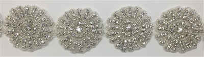 RHS-TRM-1392-SILVER.  CRYSTAL RHINESTONE TRIM - 2 INCHES WIDE