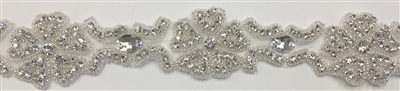 RHS-TRM-1395-SILVER.  CRYSTAL RHINESTONE TRIM - 2 INCHES WIDE - REPEAT LENGTH 4 INCHES