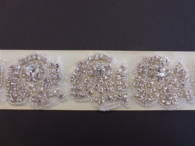 RHS-TRM-1401-SILVER.  CRYSTAL RHINESTONE TRIM - 2 INCHES WIDE - REPEAT LENGTH 2 INCHES